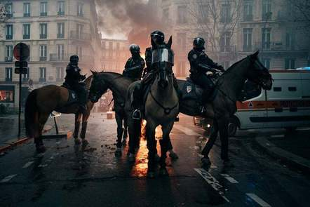 A protest with police on horses