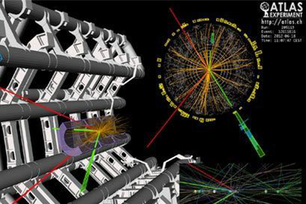 3-D graphic of collison of particles within the Large Hadron Collidor