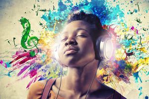 Blissed out girl listening to music