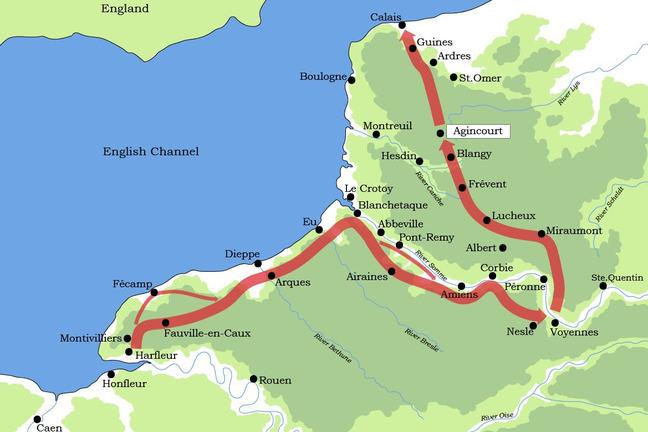 The march towards Calais - Agincourt 1415 on