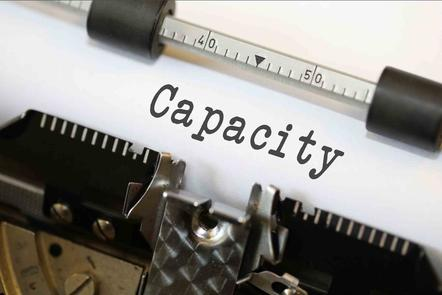 The word capacity typed onto paper in an old typewriter