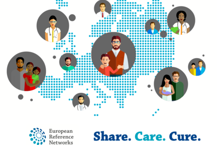 Vector Image with a European map made of blue dots with a dozen of bubbles showcasing several families and doctors to represent the concept of the European Reference Networks in a mission to share, care and cure.