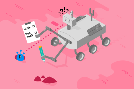 """A Mars rover examines an alien and a rock, it is holding a clipboard that says """"Rock"""" and """"Not rock"""" and looks confused"""