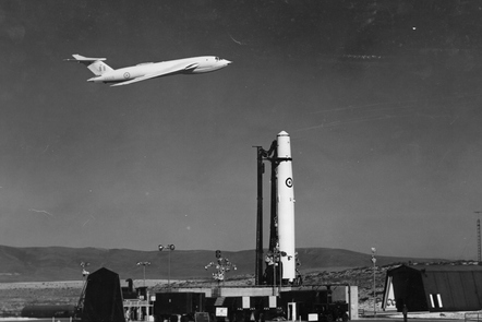 The signature image for the course: a Victor flying low above a Thor.