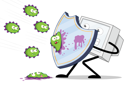 A computer raising a shield to deflect incoming viruses