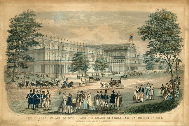 A postcode featuring a drawing. Text reads 'The crystal palace in Hyde Park for Grand International Exhibition of 1851'.