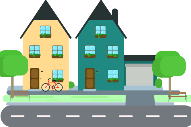 A simple illustration of 2 houses with bicycle in the front garden