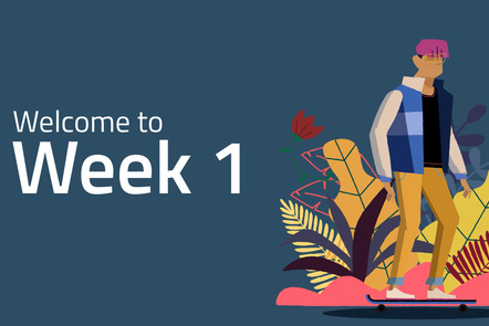 """On the left, the words """"Welcome to week 3"""" written in white on a blue background. On the right, a teenager standing on a skateboard"""