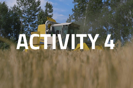 Harvesting machinery with crops in the foreground. 'Activity 4' written over the top.