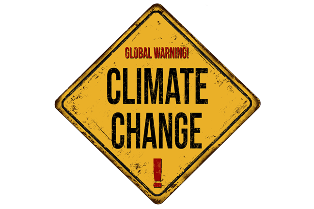 "Yellow warning sign with ""Global Warming Climate Change"" written on it"