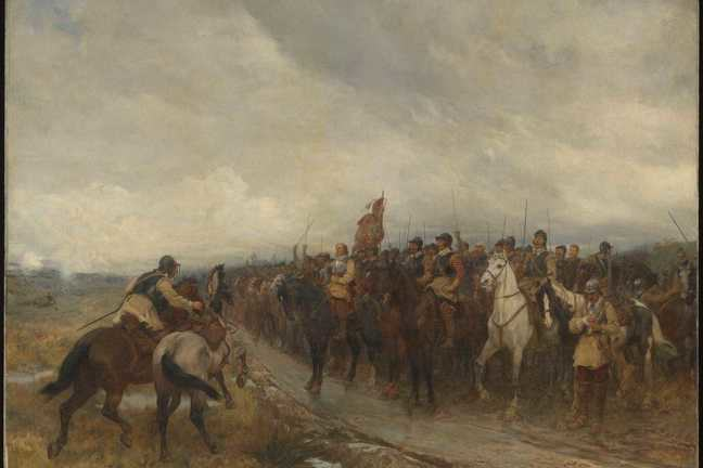 Oil painting depicting Cromwell at the front of English troops before the Battle of Dunbar