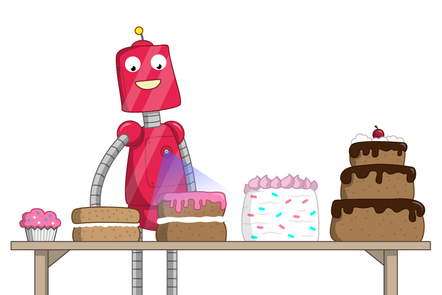 Five cakes are in a row on a table, ordered by size. A robot is scanning the cake in the centre.