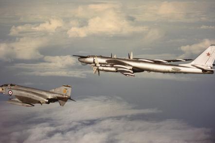 A RAF Phantom escorting a Soviet Bear at the edge of British airspace.