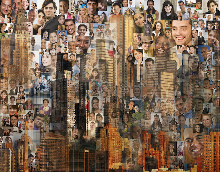 Collage of people and buildings
