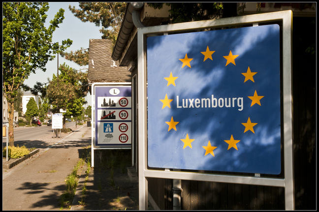 Road sign at border with Luxembourg