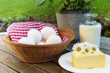 Butter, eggs and milk
