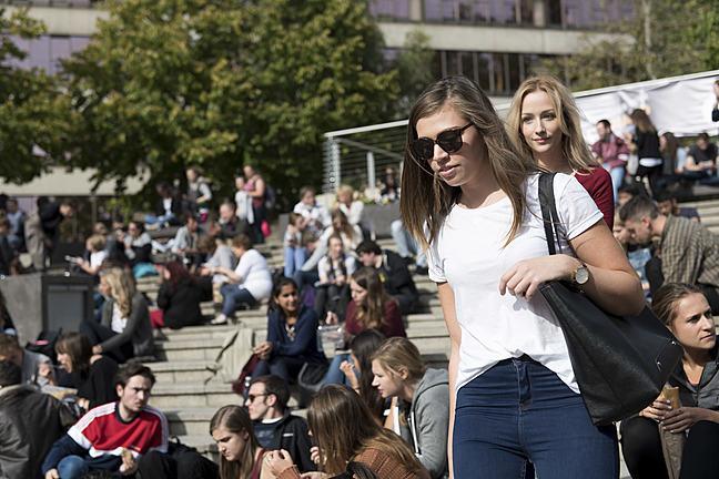 Students on university campus
