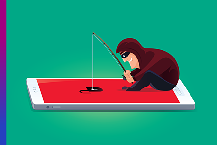 An illustration that shows a hacker with a fishing rod, hovering over a smartphone.
