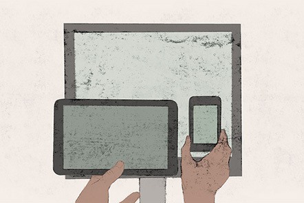 Illustration of a computer monitor, an ipad and an iphone.