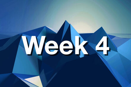 """Within Blue mountain with """"week 4"""" written on it."""