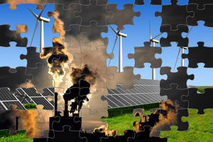Clean windmills and dirty smoking factories