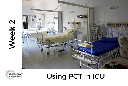 Image of ICU hospital beds, with text 'Week 2 - Using PCT in ICU'