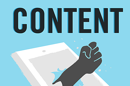 The word 'content' in bold letters over an illustration of a hand breaking through a tablet screen
