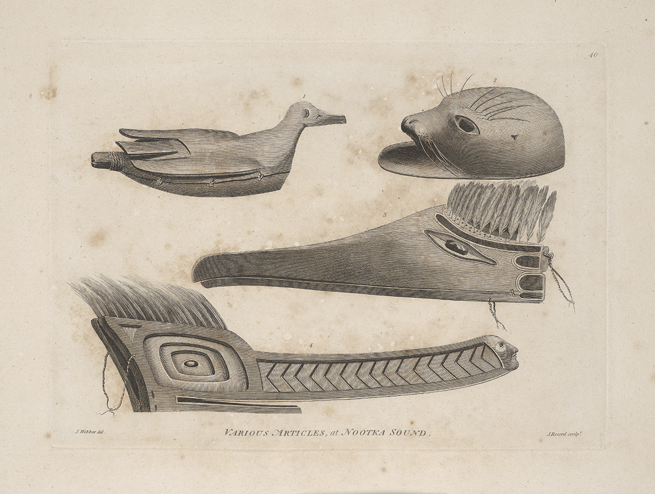 Print showing Objects at Nootka Sound with representations of animals that served as decoys. This shows two Nootkan wood bird masks, a bird rattle, and an Alaskan seal decoy helmet