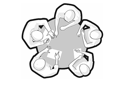 Vector image seen from the above in grey and white of five silhouettes seated around a table to show collaboration and multidisciplinary.