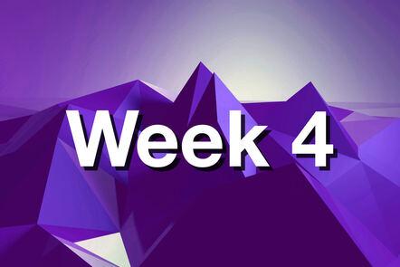 "Within purple mountain with ""week 4"" written on it."