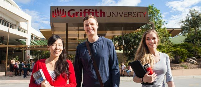 Students outside the Griffith University campus