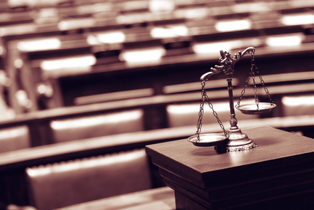 Legal scales in a courtroom.