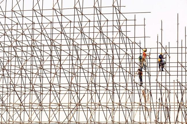 Scaffolding being constructed