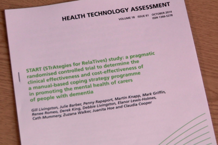 An photograph of the report from the Strategies for Relatives study
