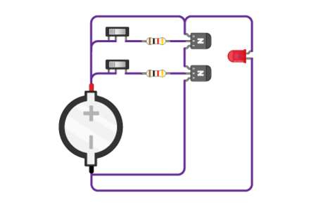 A depiction of a NAND gate circuit
