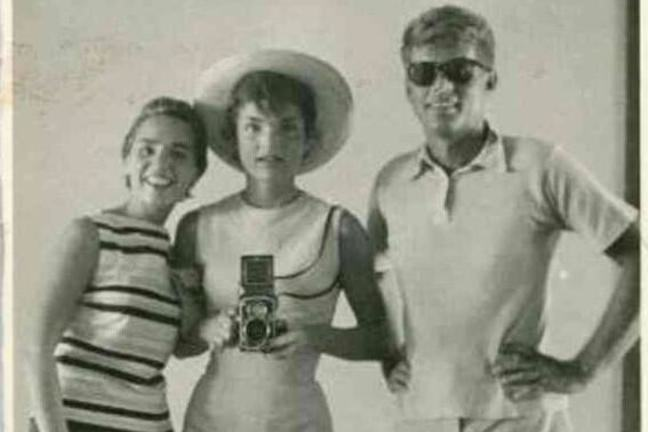Old black and white photograph of the famous US Kennedy family