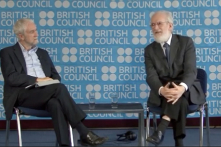 David Crystal and interviewer