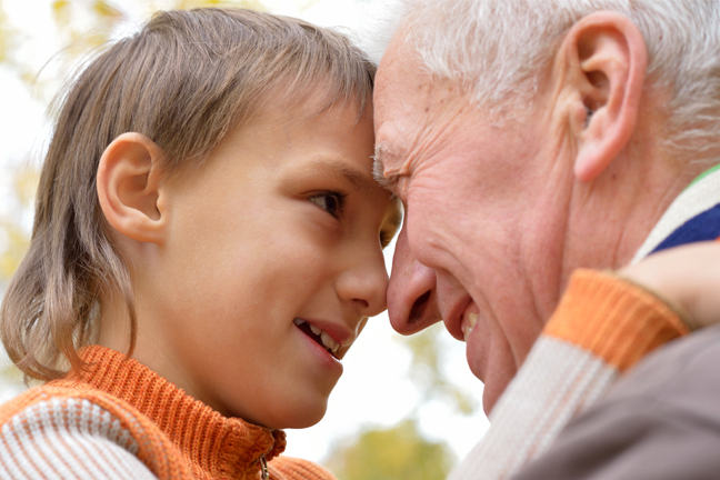 Boy and Grandfather smiling