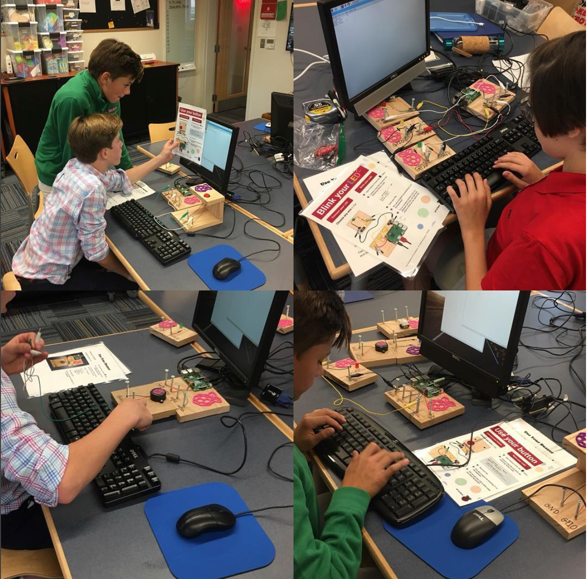 Students taking part in digital making activities in a school maker space