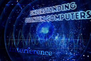"""Understanding Quantum Computers"" as a title on the space image."