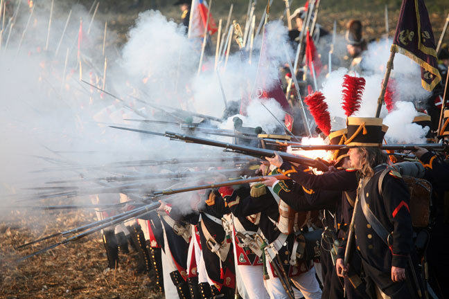 French troops fire a musket volley
