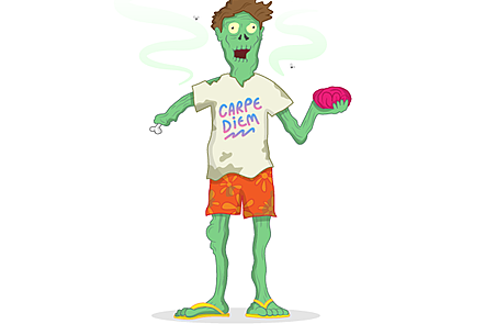 An illustration of a zombie character