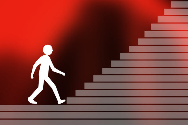 Image of a figure climbing stairs