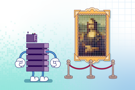 A server character looks at a pixellated Mona Lisa