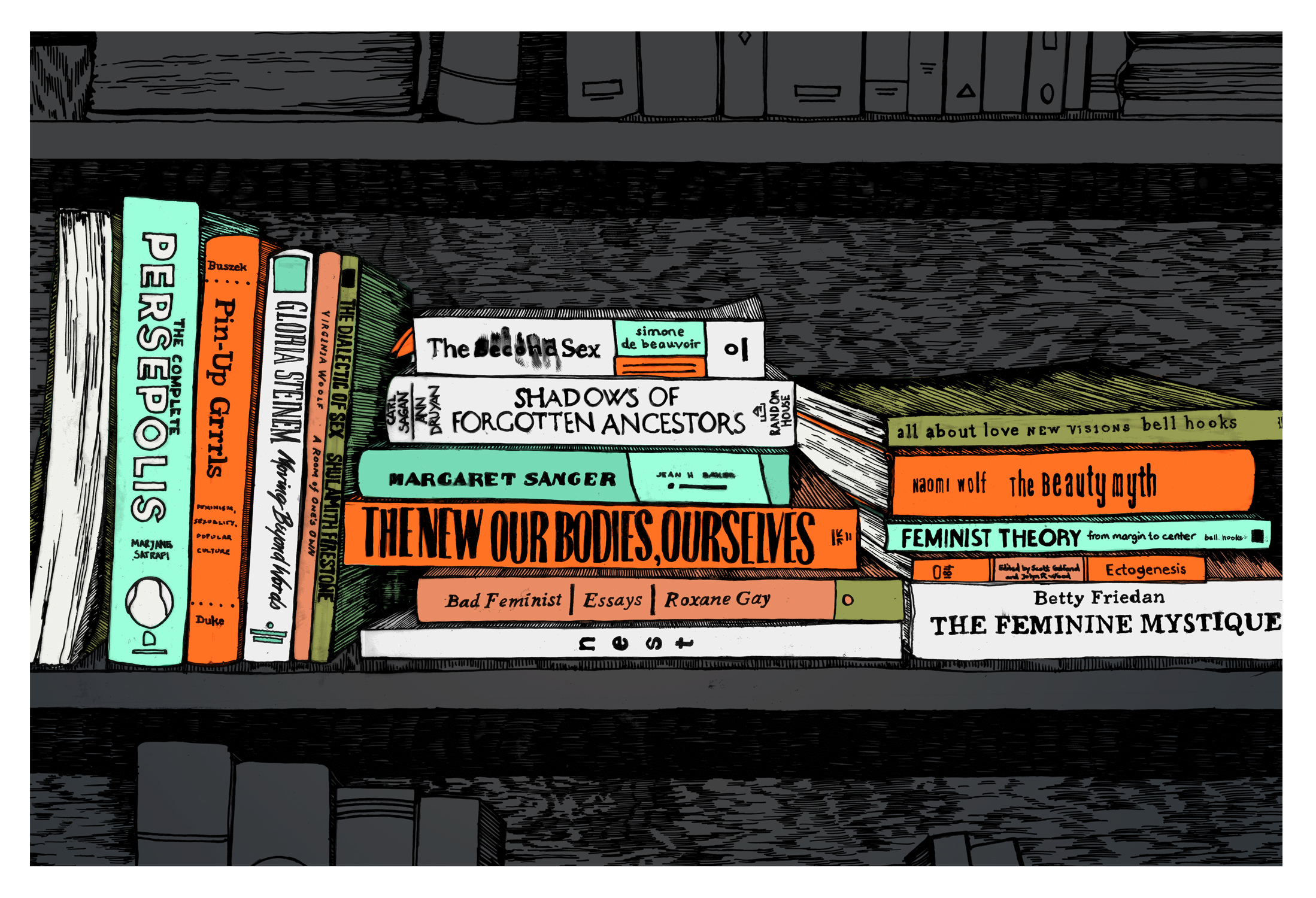 An artists impression of feminist books on a shelf.