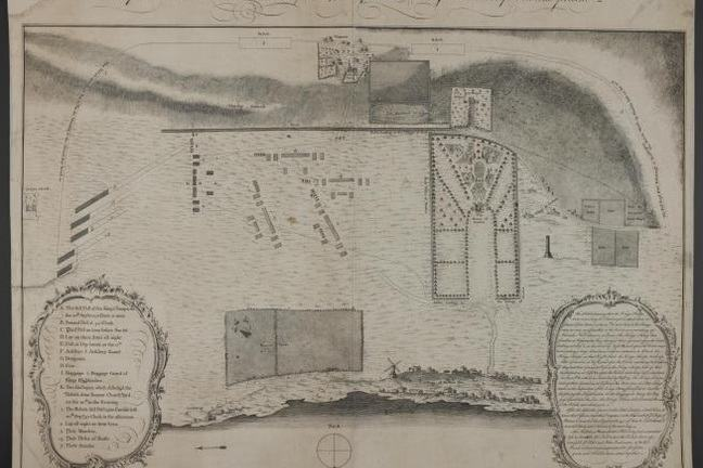 Plan of the Battle at Prestonpans as drawn by an officer at that time listing the regiments and showing the topography of the area.