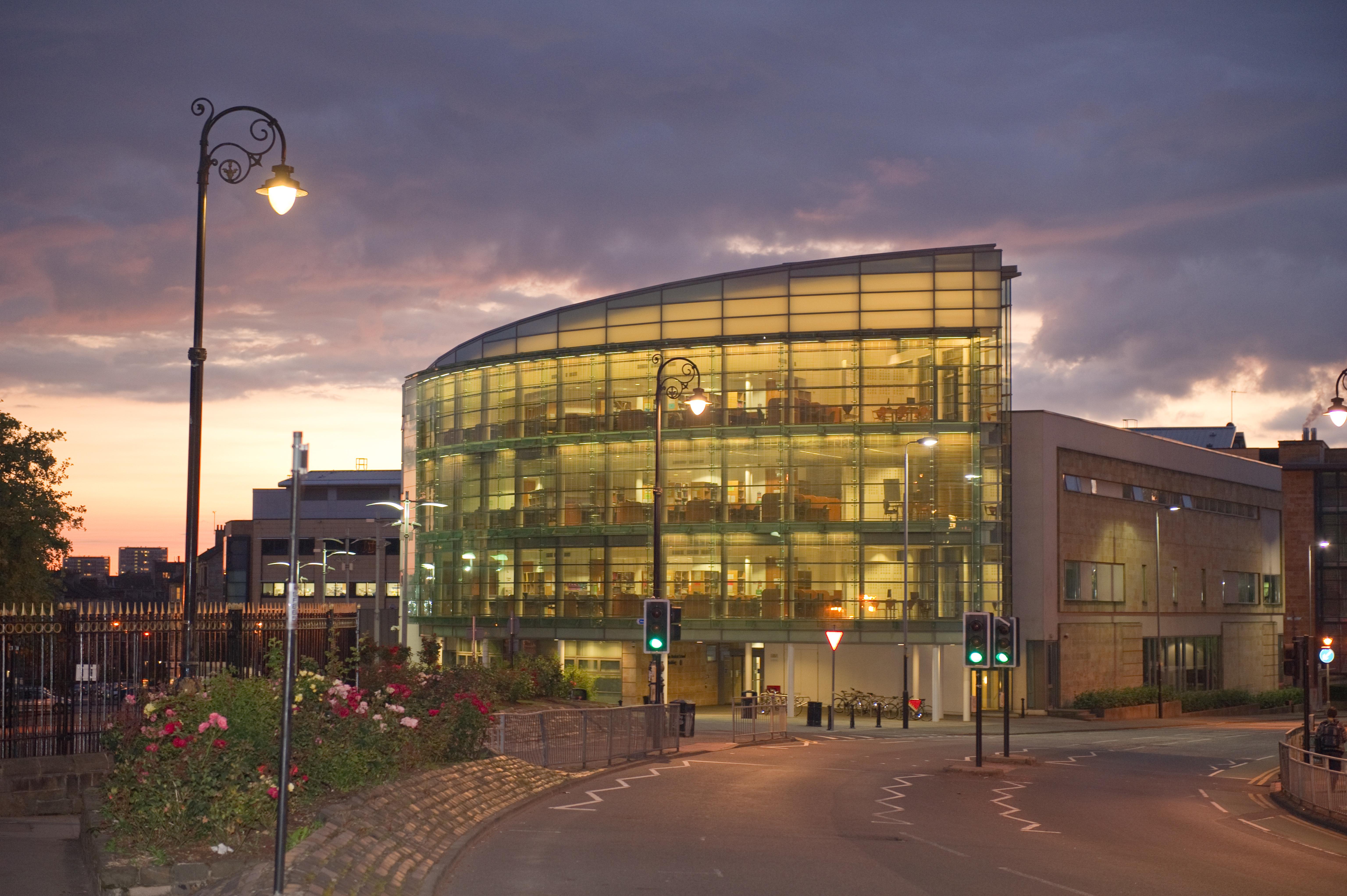 University of Glasgow Medical School building at night