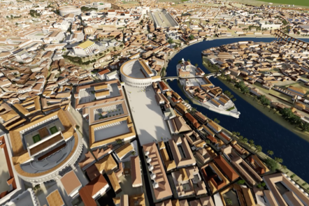 An aerial shot of the Rome digital model in colour, showing the river Tiber and surrounding buildings.