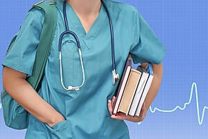Young female nurse or intern surgeon in blue uniform with books and bag on blue background electrocardiogram