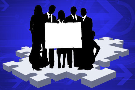 Illustration of a group of silhouetted business figures holding a blank sign